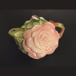 Pink Rose 3D Flower Teapot w Lid Porcelain Japan